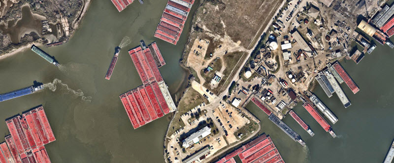 Ariel view of port and barges in Houston Texas